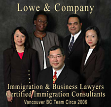 Lowe & Company, Business-Immigrations lawyers and consultants 2005 photo of team from Canada, Singapore, Nigeria, Egypt and Hong Kong
