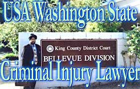 Dil Gosal in front of King County District Court, Bellvue Division, Washington State, where he does Criminal Defence Attorney work for clients