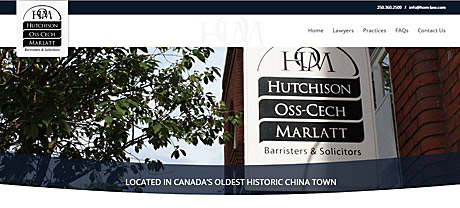 Hutchison Oss-Cech Marlett - sign hanging outside their building in Victoria's Chinatown on Fisgard st.