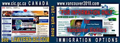Web sites of Citizenship & Immigration Canada and Winter Olympics in Vancouverr, BC 2010