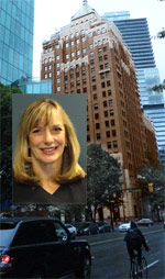 Sandra Banister, QC personal injury, employment law lawyer with photo of Marine Bldg. in background, where her offices are on the 5th floor