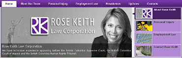 Rose Keith, a top downtown Vancouver lawyer for traumatic personal injuries, ICBC accident claims: brain injury, spinal injuries & soft tissue injury -  at 1486 West Hastings St. Vancouver.-  CLICK TO HER WEBSITE www.rosekeith.bc.ca
