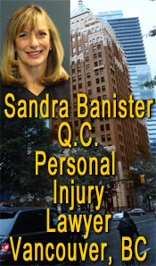 Sandra Banister, QC - 30+ years experience only handles  plaintiffs personal injury ICBC disputes over range of injuries e.g. brain, head, back, quadriplegia, whiplash injuries - this photo is of #670 - 355 Burrard St., her offices in the Marine Building - CLICK TO MORE INFO ABOUT S> Banister
