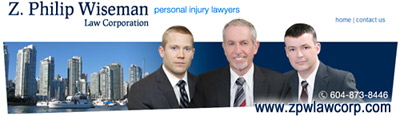 Photo of Wiseman law corp ICBC claims disputes lawyhers, Elliot Holden, Z. Philip Wiseman and casemanager Stuart Davies